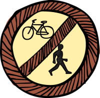 No pedestrians cyclingFreehand Image