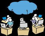 Cloud computing freehand drawings