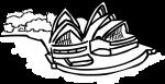 Opera house sydney australia freehand drawings