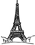Eiffel tower paris france freehand drawings