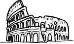 Coliseum rome italy freehand drawings
