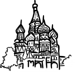 St basils cathedral moscow russia freehand drawings