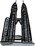 Petronas towers kuala lumpur malaysia freehand drawings