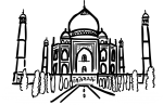 Taj mahal agra india freehand drawings