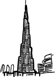 Burj khalifa dubai freehand drawings