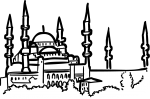 Blue mosque istanbul turkey freehand drawings