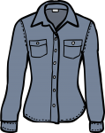 Denim shirt women freehand drawings