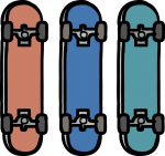 Skateboard freehand drawings