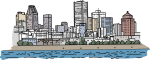 Montreal Skyline freehand drawings