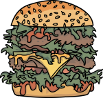 Double cheese burger freehand drawings