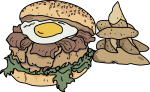 Egg Bacon Burger freehand drawings