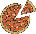Pepperoni Pizza freehand drawings