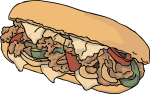 Philly Cheese Steak Sandwich freehand drawings