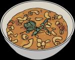 Pasta fagioli soup freehand drawings