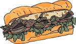 Steak cheese Sub freehand drawings