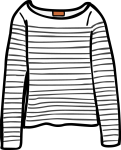 Striped top women freehand drawings