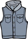 Hooded denim waistcoat men freehand drawings