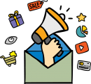 Email marketing freehand drawings