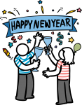 New Year freehand drawings